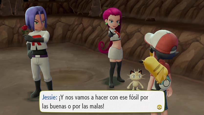 Imagen de Jesse, James y Meouth en Pokémon Let's GO Pikachu o Let's GO Eevee.